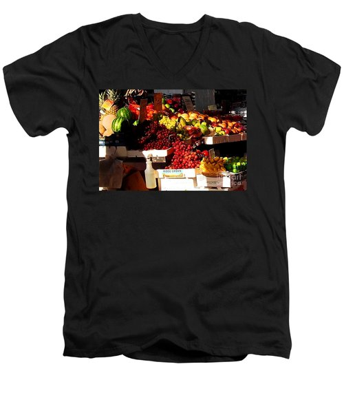 Men's V-Neck T-Shirt featuring the photograph Sun On Fruit Close Up by Miriam Danar