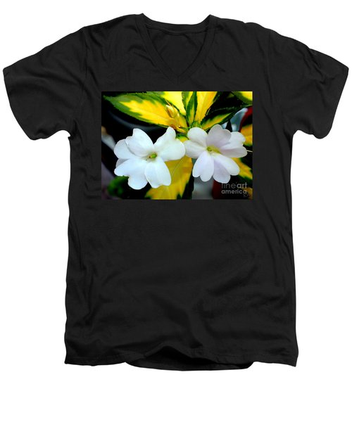 Sun Patiens Spreading White Variagated Men's V-Neck T-Shirt by Kathy  White