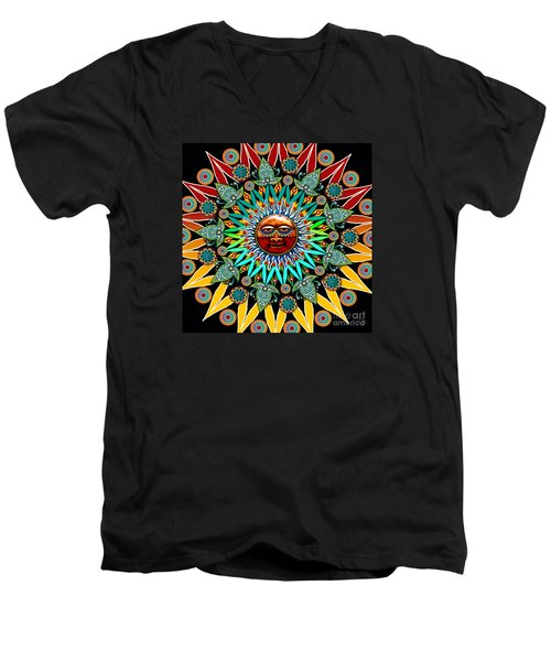 Sun Shaman Men's V-Neck T-Shirt by Christopher Beikmann