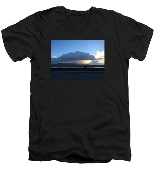 Men's V-Neck T-Shirt featuring the photograph Sunbeams Over Conwy by Christopher Rowlands