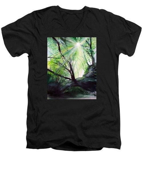 Men's V-Neck T-Shirt featuring the painting Sunbeans Of Grace by Allison Ashton