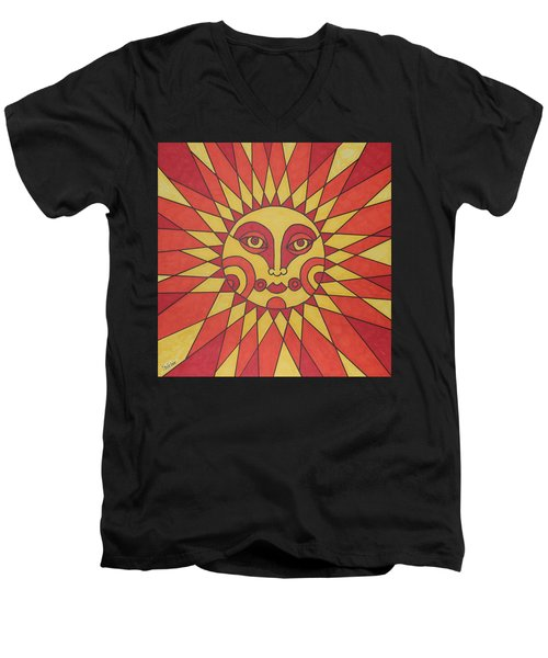 Sunburst Men's V-Neck T-Shirt by Susie Weber