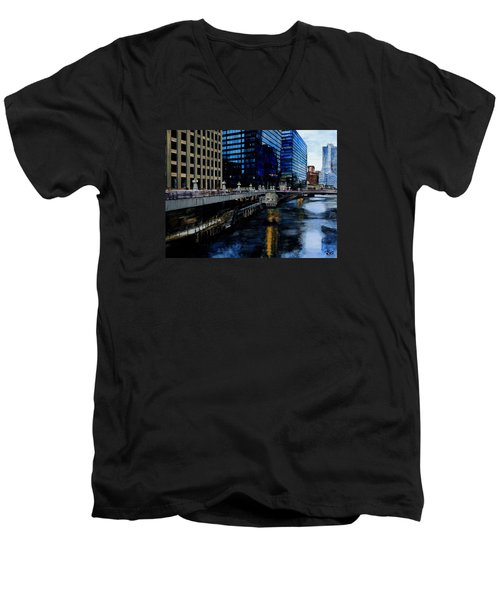 Sunday Morning In January- Chicago Men's V-Neck T-Shirt by Raymond Perez