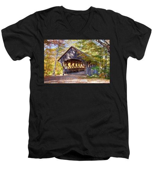 Sunday River Covered Bridge Men's V-Neck T-Shirt