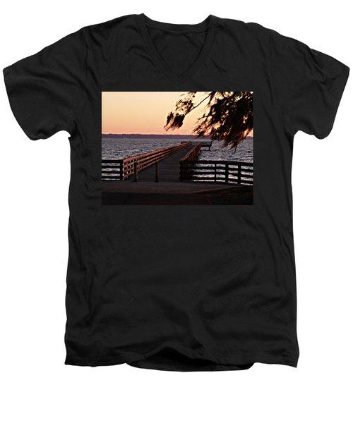 Sundown At Shands Dock Men's V-Neck T-Shirt