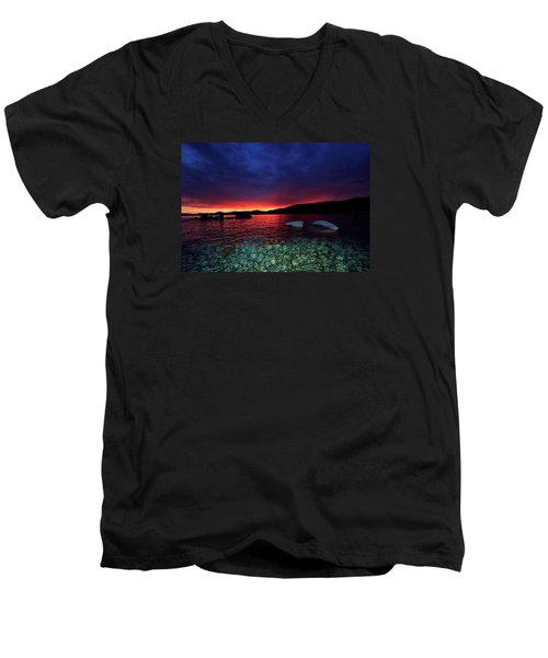 Men's V-Neck T-Shirt featuring the photograph Sundown In Lake Tahoe by Sean Sarsfield