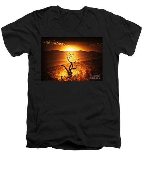 Sundown In The Mountains Men's V-Neck T-Shirt by Lydia Holly
