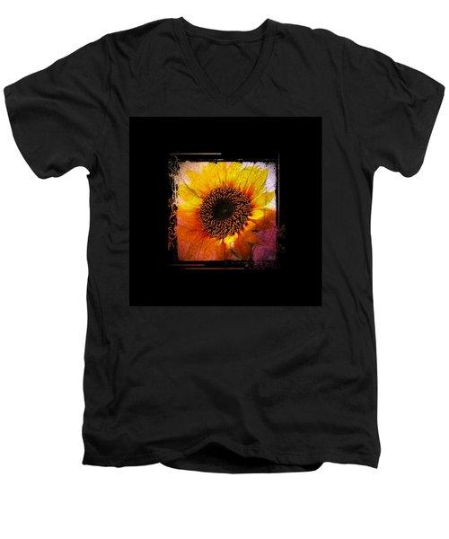 Men's V-Neck T-Shirt featuring the digital art Sunflower Sunset - Art Nouveau  by Absinthe Art By Michelle LeAnn Scott
