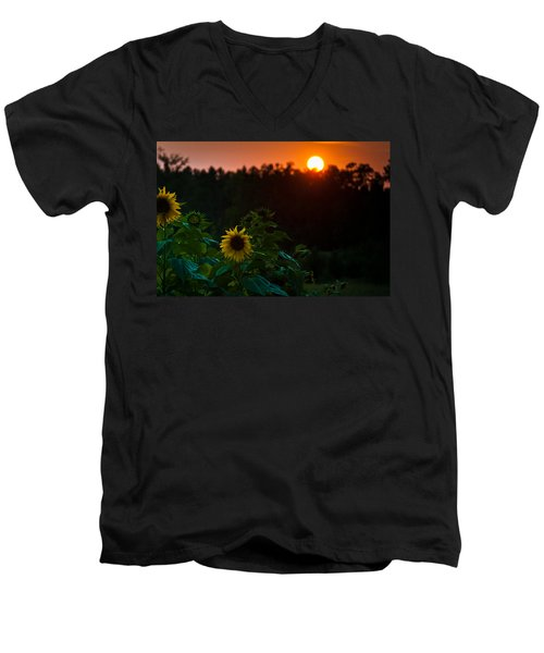 Men's V-Neck T-Shirt featuring the photograph Sunflower Sunset by Cheryl Baxter