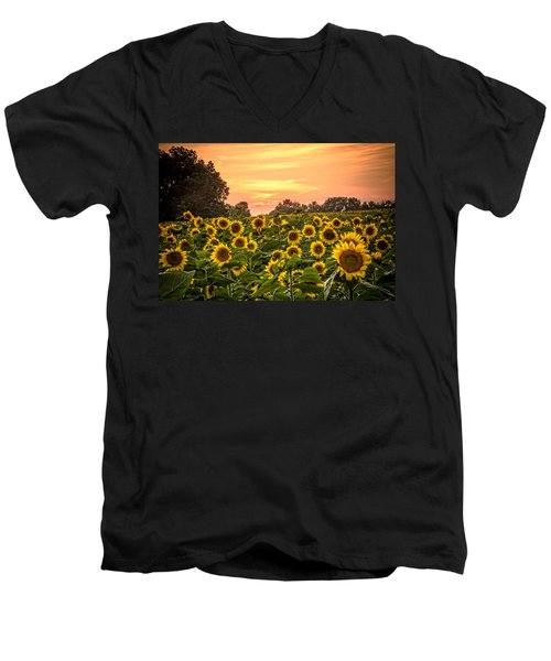 Men's V-Neck T-Shirt featuring the photograph Sunflower Sunset by Steven Bateson