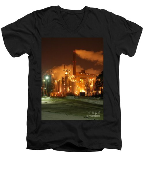 Sunila Pulp Mill By Winter Night Men's V-Neck T-Shirt