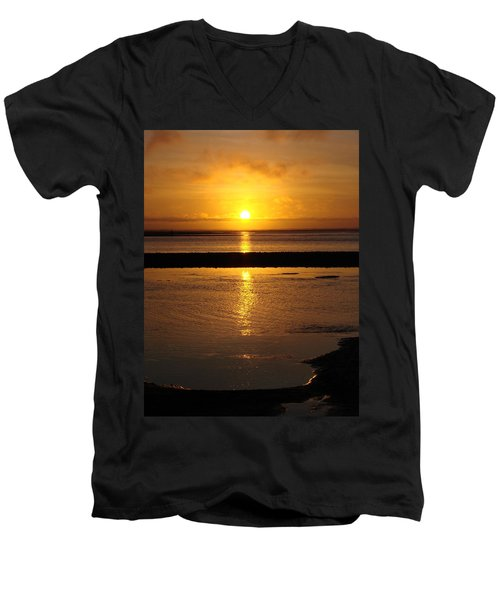 Men's V-Neck T-Shirt featuring the photograph Sunkist Sunset by Athena Mckinzie