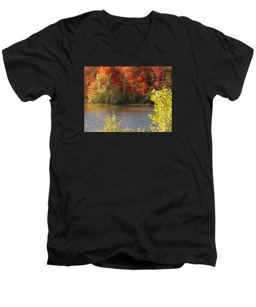 Men's V-Neck T-Shirt featuring the photograph Sunlit Autumn by Ann Horn