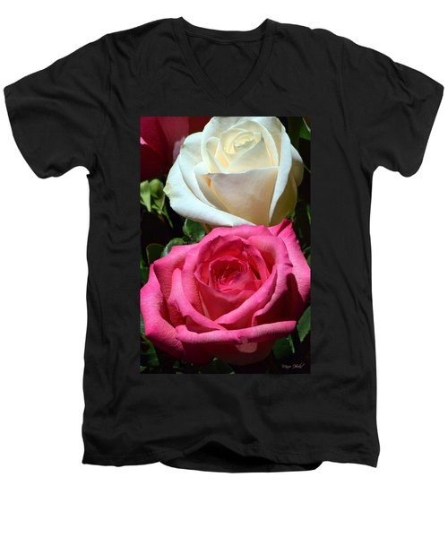 Sunlit Roses Men's V-Neck T-Shirt by Marie Hicks