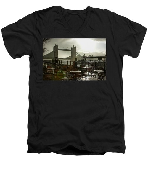 Sunny Rainstorm In London - England Men's V-Neck T-Shirt