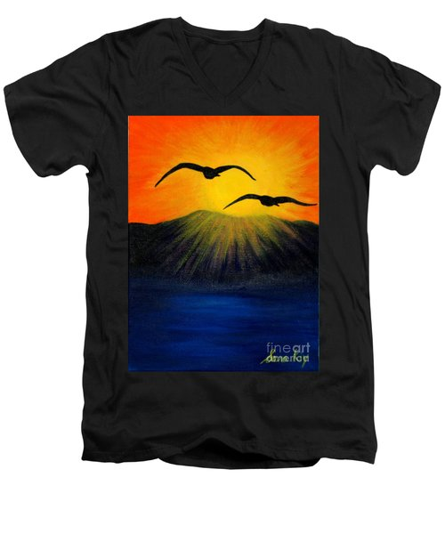 Men's V-Neck T-Shirt featuring the painting Sunrise And Two Seagulls by Oksana Semenchenko