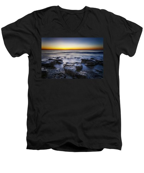 Sunrise At Cave Point Men's V-Neck T-Shirt
