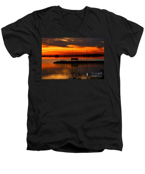 Sunrise At Jackson Men's V-Neck T-Shirt by Steven Reed