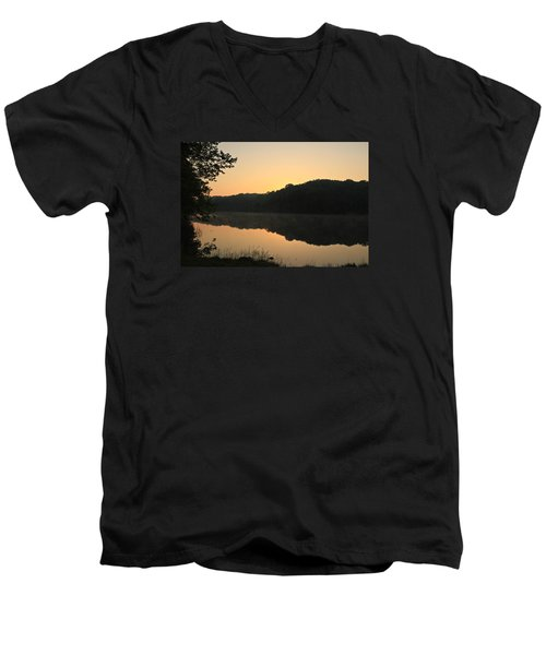 Men's V-Neck T-Shirt featuring the photograph Sunrise At Rose Lake by Julie Andel