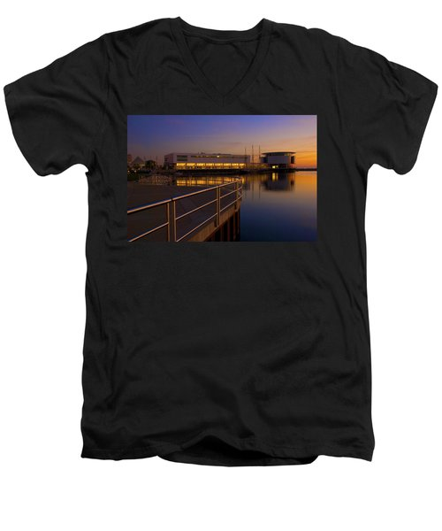 Men's V-Neck T-Shirt featuring the photograph Sunrise At The Lakefront by Jonah  Anderson