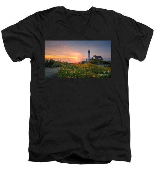Sunrise Bliss At Portland Lighthouse Men's V-Neck T-Shirt
