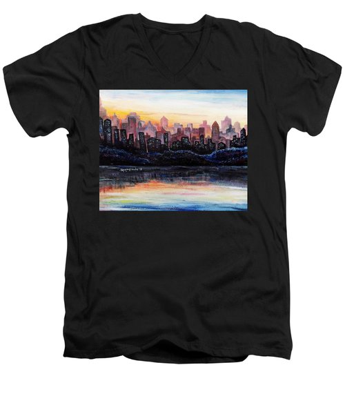 Men's V-Neck T-Shirt featuring the painting Sunrise City by Shana Rowe Jackson