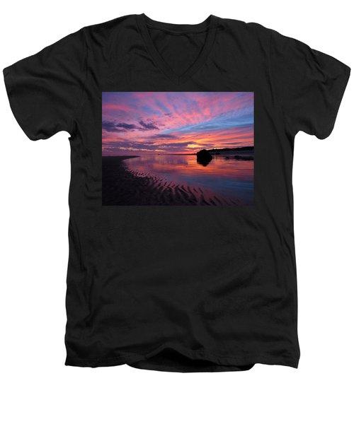 Sunrise Drama Men's V-Neck T-Shirt by Dianne Cowen