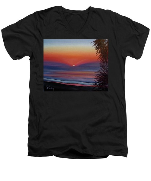 Men's V-Neck T-Shirt featuring the painting Sunrise Glow by Donna Tuten