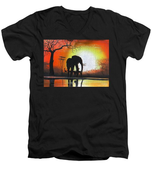 Sunrise In Africa Men's V-Neck T-Shirt
