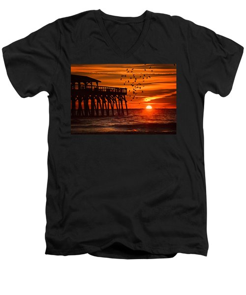 Sunrise In Myrtle Beach With Birds Flying Around The Pier Men's V-Neck T-Shirt