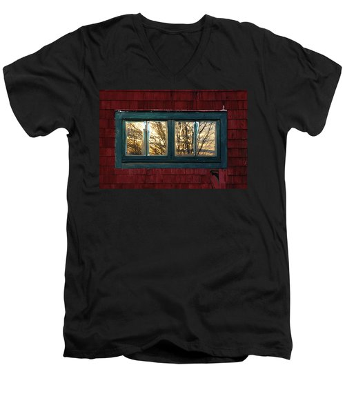Men's V-Neck T-Shirt featuring the photograph Sunrise In Old Barn Window by Susan Capuano