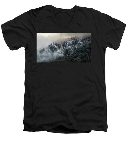 Men's V-Neck T-Shirt featuring the photograph Sunrise In The Clouds by Melanie Lankford Photography
