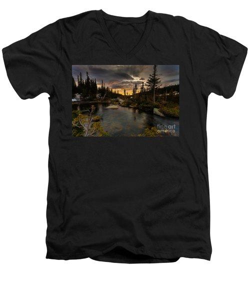 Sunrise In The Indian Peaks Men's V-Neck T-Shirt