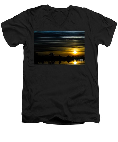 Men's V-Neck T-Shirt featuring the photograph Sunrise In Virginia by Angela DeFrias