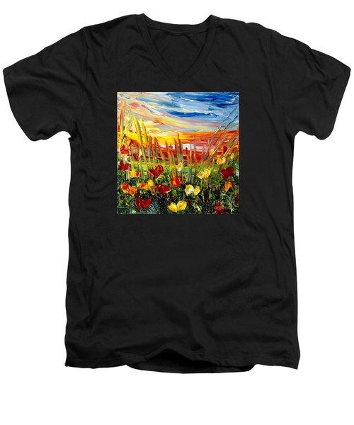 Sunrise Meadow   Men's V-Neck T-Shirt
