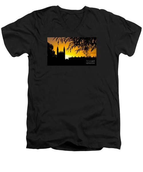 Sunrise Over Cambridge Men's V-Neck T-Shirt by David Warrington