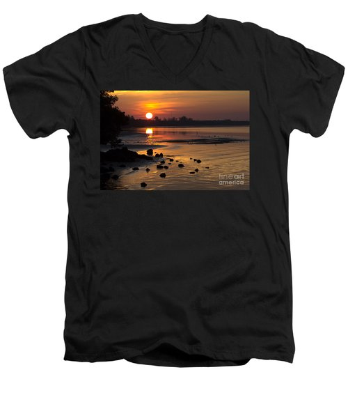 Men's V-Neck T-Shirt featuring the photograph Sunrise Photograph by Meg Rousher