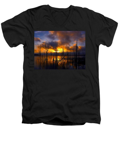 Men's V-Neck T-Shirt featuring the photograph Sunrise by Raymond Salani III