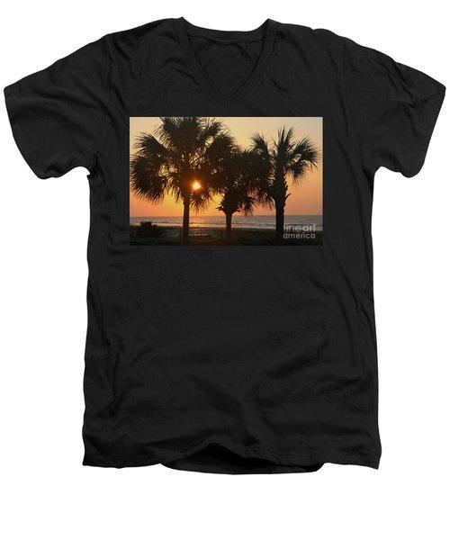 Sunrise Through The Palms Men's V-Neck T-Shirt by Kevin McCarthy