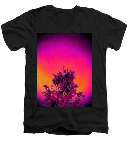 Men's V-Neck T-Shirt featuring the painting Sunrise To Sunset Nature Is Beautiful by David Mckinney