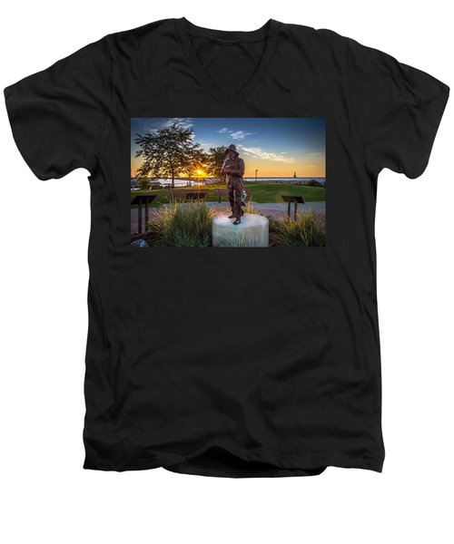 Sunrise With The Fisherman Men's V-Neck T-Shirt by James  Meyer