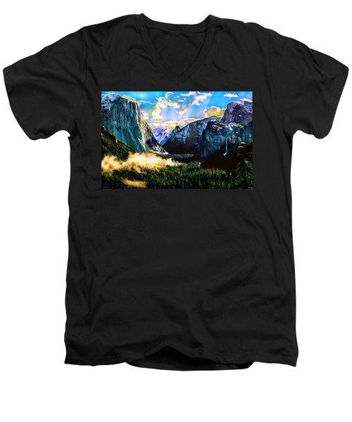 Sunrise Yosemite Valley Nationalpark Men's V-Neck T-Shirt