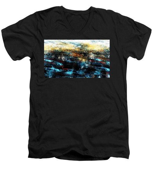 Men's V-Neck T-Shirt featuring the digital art Sunset 083014 by David Lane