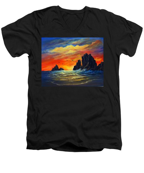 Men's V-Neck T-Shirt featuring the painting Sunset 2 by Bozena Zajaczkowska