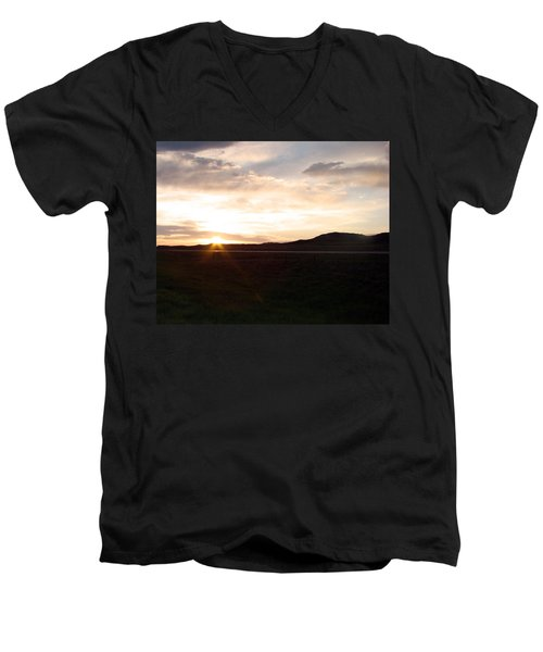 Men's V-Neck T-Shirt featuring the photograph Sunset Across I 90 by Cathy Anderson