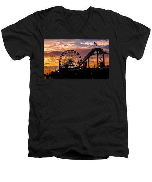 Sunset Amusement Park Farris Wheel On The Pier Fine Art Photography Print Men's V-Neck T-Shirt by Jerry Cowart