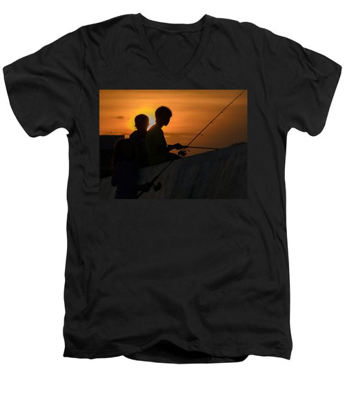 Sunset Anglers Men's V-Neck T-Shirt by Keith Armstrong