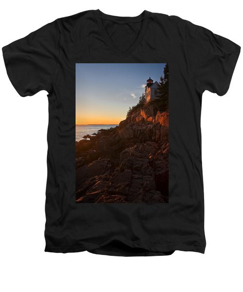 Sunset At Bass Head   Men's V-Neck T-Shirt by Priscilla Burgers