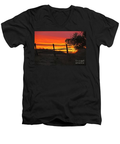 Men's V-Neck T-Shirt featuring the photograph Sunset At Bear Butte by Mary Carol Story