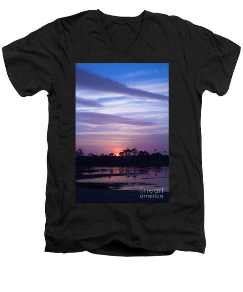 Sunset At Malibu Beach Lagoon Estuary Fine Art Photograph Print Men's V-Neck T-Shirt by Jerry Cowart